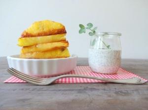 Diät-Dessert-karamellisierte-Ananas-mit-Mohn-Creme