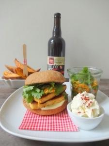 MS Tofuburger mit Süßkartoffeln und Dip