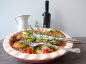 Pfannen-Pizza-mit-grünem-Spargel